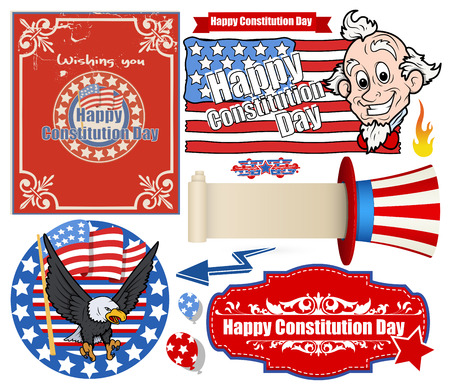 USA Flag theme Constitution Day Backgrounds   Elements Vectors Set Vector