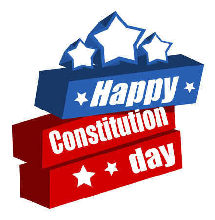 constitution day: Text - Constitution Day Vector Illustration