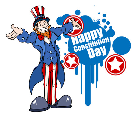 sam: uncle sam - Constitution Day Vector Illustration Illustration