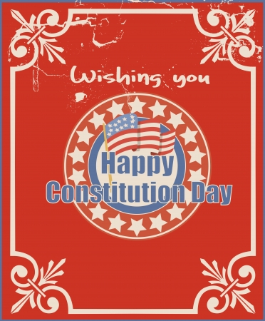 Old Vintage Greeting Card Background - Constitution Day Vector Illustration Stock Vector - 22318528