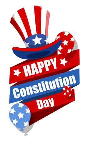 i want you: Decorative Banner with Uncle sam hat - Constitution Day Vector Illustration