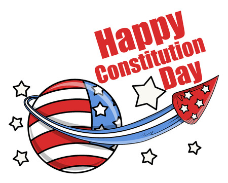 constitution day: celebration with fireworks - Constitution Day Vector Illustration Illustration
