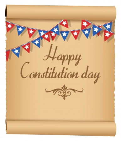 constitution day: Old Scroll USA - Constitution Day Vector Illustration Illustration