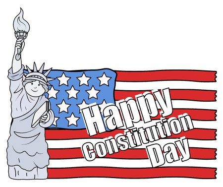 Statue of liberty and US Flag - Constitution Day Vector Illustration Stock Vector - 22318560