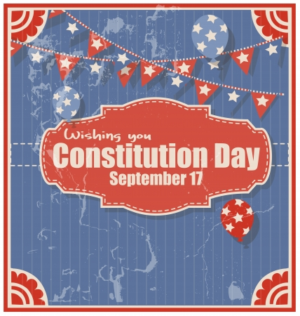 constitution day: Grunge Background for Constitution Day Vector Illustration