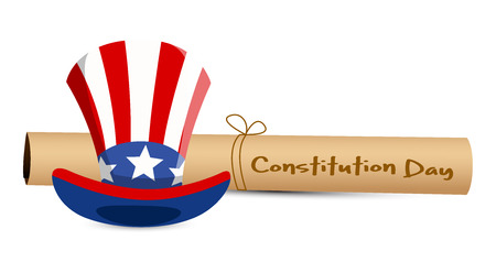 scroll and uncle sam hat - Constitution Day Vector Illustration Stock Vector - 22318597