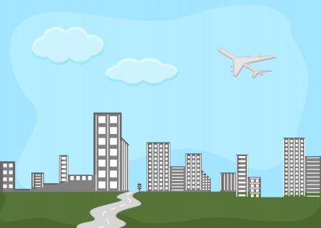 skylines: horizontes - ciudad - Cartoon Vector Background Vectores