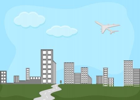 skylines: skylines - city - Cartoon Background Vector Illustration