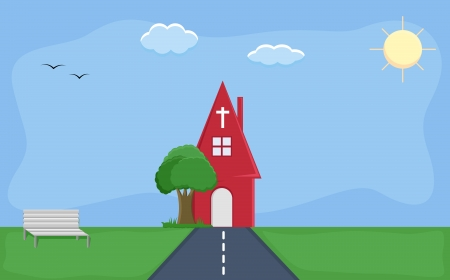 church - Cartoon Background Vector Vector