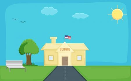 school - Cartoon Background Vector Vector