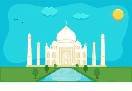 the taj mahal: Taj Mahal - Cartoon Background Vector