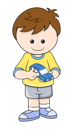 cute boy holded a car toy vector