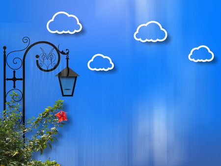street lamp: Street Lamp Clouds Background