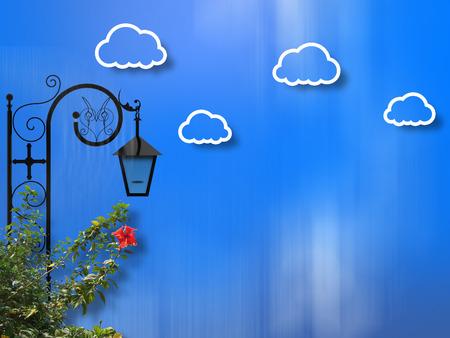 street lamp: Street Lamp Clouds Background
