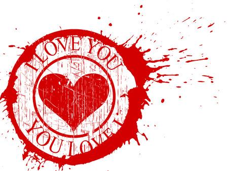 Valentines - grunge I love You background Фото со стока