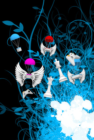 abstract retro flying objects background photo