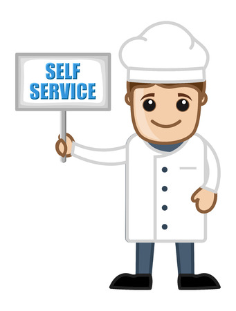 Self Service Board - Holding a Cartoon Chef Vector
