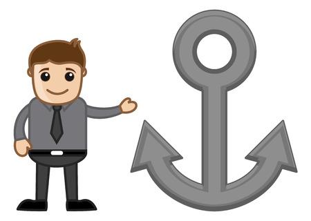 anchor man: Cartoon Man Showing Anchor Illustration