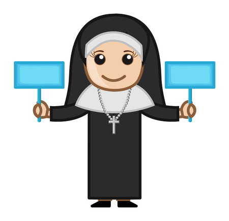 Nun Holding Two Banners Vector Vector