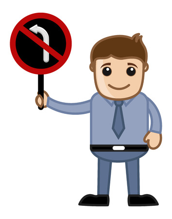 Man Showing - No Turn Sign Vector Vector