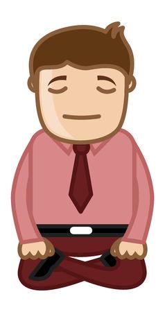 meditation man: Cartoon Man Vector - Yoga Meditation