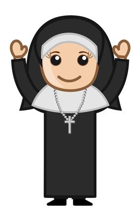 Cartoon Vector Character - Happy Religious Nun Vector
