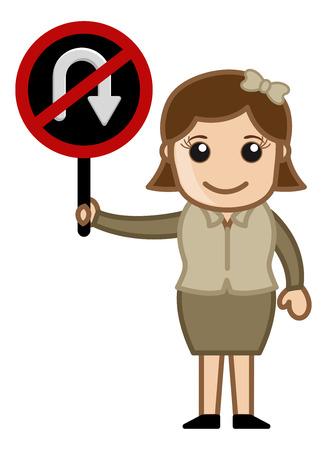 u turn sign: No U Turn Sign Board - Cartoon Vector
