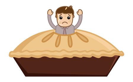 pastel de manzana: Vector de dibujos animados hombre Stucked en Apple Pie
