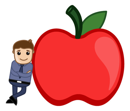 Man Standing with an Apple Vector