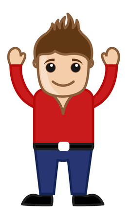 cool man: Cartoon Cool Man in Red Shirt - Vector Illustration