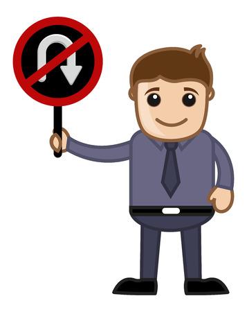 u turn: No U Turn Allowed - Cartoon Vector
