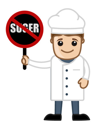 No Sugar Allowed in Recipes - Cartoon Vector Vector