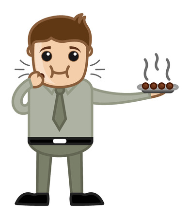 Man Eating Dessert - Office Cartoon Character Vector