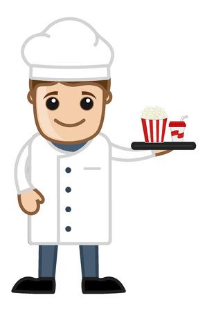 Cartoon Chef Serving Food Vector