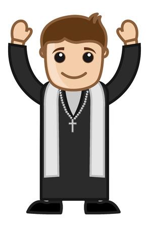 blessed: Pastor Cartoon Vector Illustration