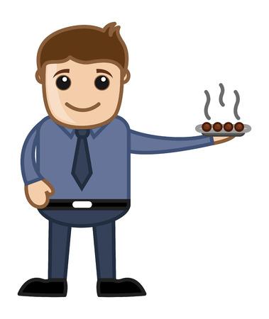 Man Serving Sweet Dish Vector Vector