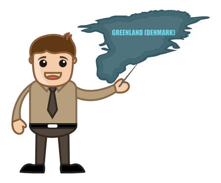 Man Showing Greenland Map Vector Vector