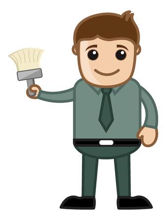house under construction: Renovation - Cartoon Man Holding a Paint Brush Vector Illustration