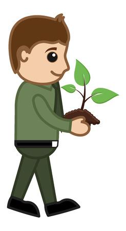 Man Holding a Baby Plant - Cartoon Character Vector Vector