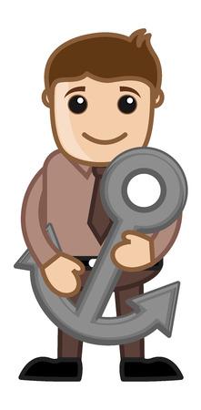 anchor man: Man Holding Anchor
