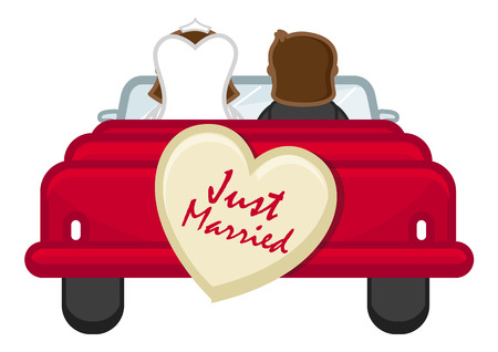just: Just Married - Couple Going from Honeymoon - Cartoon Vector Illustration