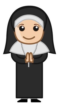 nun: Cartoon Vector Character - Nun Praying