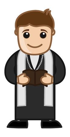 Priest Reading Bible - Cartoon Vector Character Vector