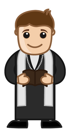 Priest Reading Bible - Cartoon Vector Character Vector