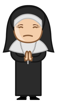 Nun Praying to God - Cartoon Vector Vector