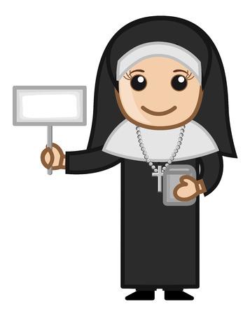 Happy Nun Showing Blank Banner Vector