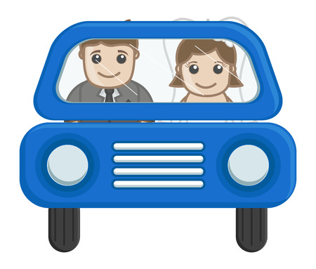 newly weds: Newly Weds Couple Going in Car - Cartoon Vector