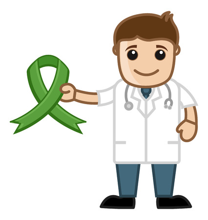 stethoscope boy: Green Aids Ribbon in Doctor s Hand