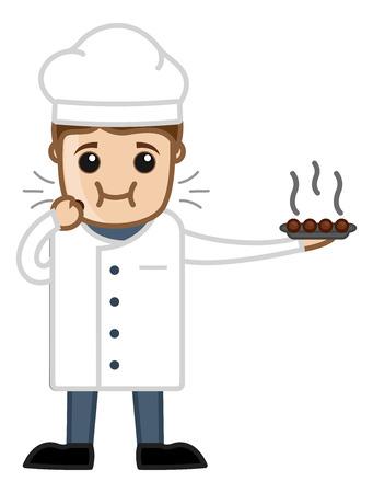 Chef Eating Sweet Dish - Vector Cartoon Vector