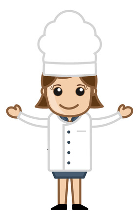 Happy Chef Woman Presenting - Cartoon Vector Vector